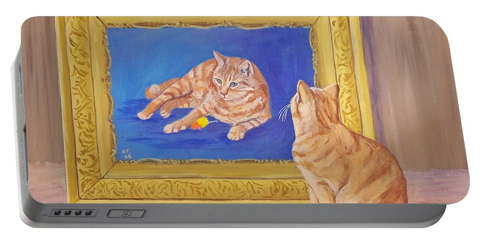 Cat Portable Battery Charger featuring the painting The Art Critic by Ellie Taylor