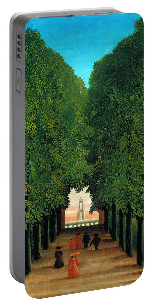 Henri Rousseau Portable Battery Charger featuring the painting The Avenue In The Park At Saint Cloud  by Henri Rousseau