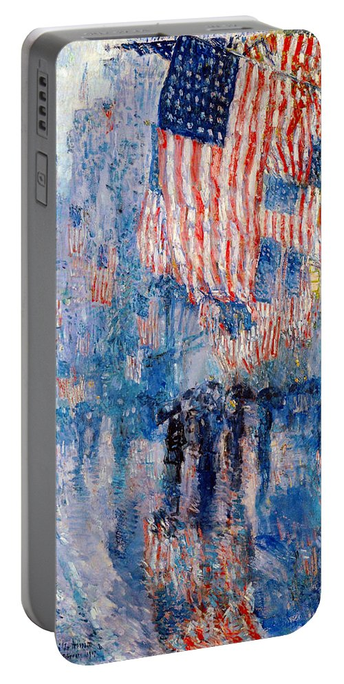Frederick Childe Hassam Portable Battery Charger featuring the digital art The Avenue In The Rain by Frederick Childe Hassam
