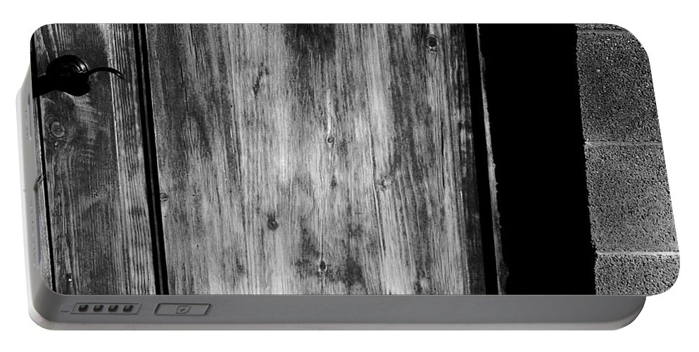 Digital Black And White Photo Portable Battery Charger featuring the digital art The Back Door Bw by Tim Richards