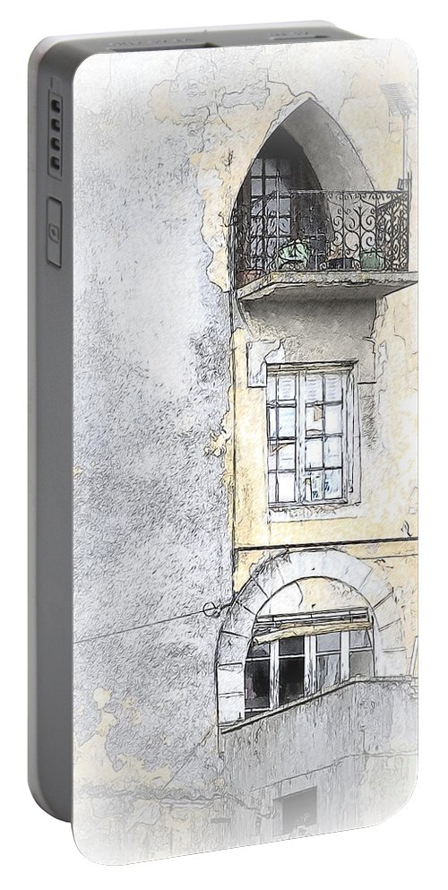 Window Portable Battery Charger featuring the photograph The Balcony Scene II by Heiko Koehrer-Wagner