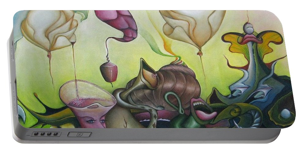 Landscape Portable Battery Charger featuring the painting The Balloons by Bob Ivens