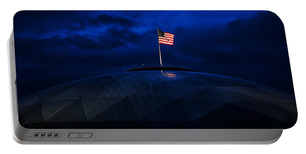 American Flag Portable Battery Charger featuring the photograph The Banner Still Waves by Mary Jo Allen