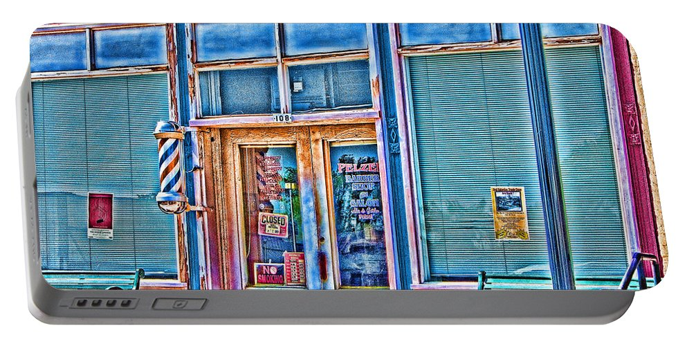 Barbershop Portable Battery Charger featuring the photograph The Barbershop Hdr by Douglas Barnard