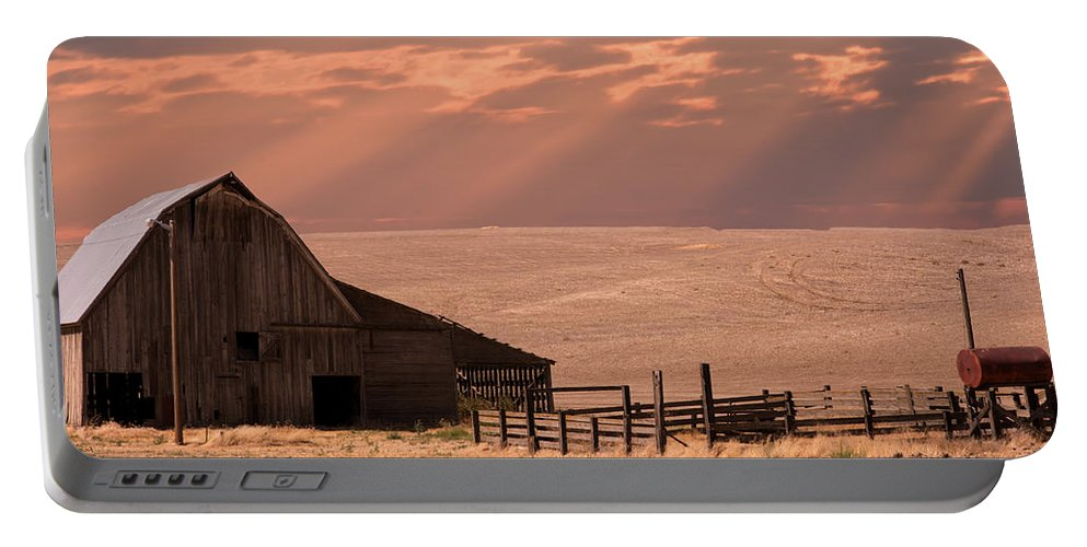 The Bran Lot Portable Battery Charger featuring the photograph The Barn Lot by Randall Branham