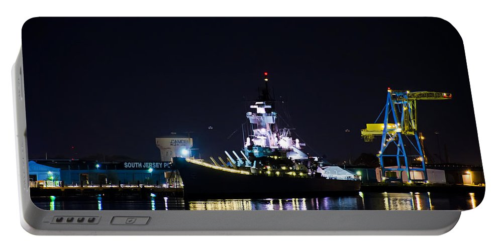 Battleship Portable Battery Charger featuring the photograph The Battleship New Jersey At Night by Bill Cannon