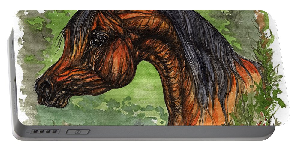 Psychodelic Portable Battery Charger featuring the painting The Bay Arabian Horse 1 by Angel Ciesniarska