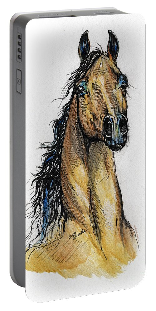 Arab Portable Battery Charger featuring the painting The Bay Arabian Horse 13 by Angel Ciesniarska