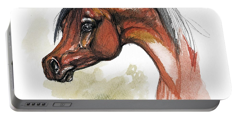 Arab Portable Battery Charger featuring the painting The Bay Arabian Horse 15 by Angel Ciesniarska