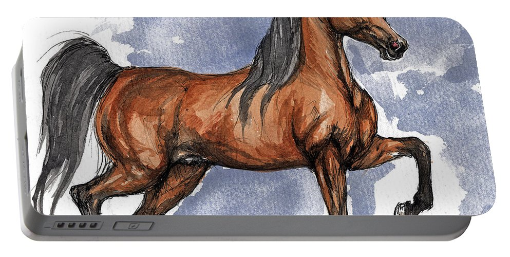 Bay Portable Battery Charger featuring the painting The Bay Arabian Horse 17 by Angel Ciesniarska