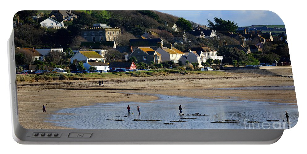 Mounts Bay Portable Battery Charger featuring the photograph The Beach At Marazion by Louise Heusinkveld