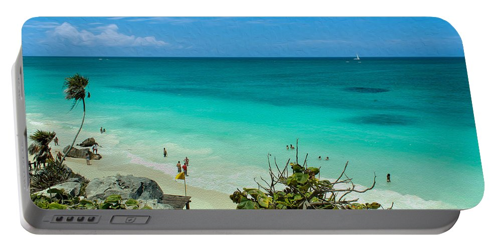 Beach Portable Battery Charger featuring the photograph The Beach At The Tulum Ruins by John M Bailey