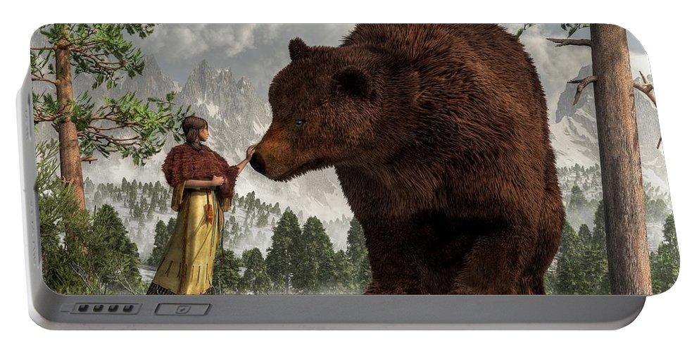 Bear Woman Portable Battery Charger featuring the digital art The Bear Woman by Daniel Eskridge