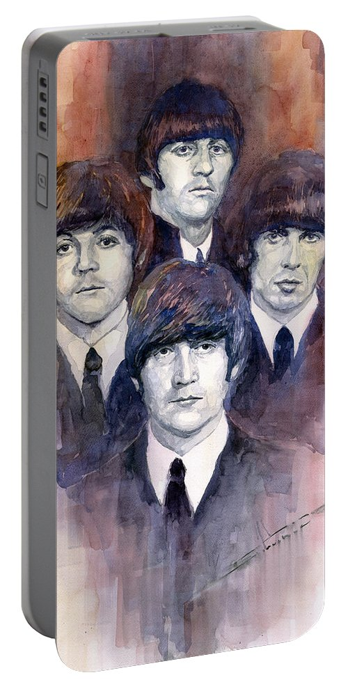 Watercolor Portable Battery Charger featuring the painting The Beatles 02 by Yuriy Shevchuk