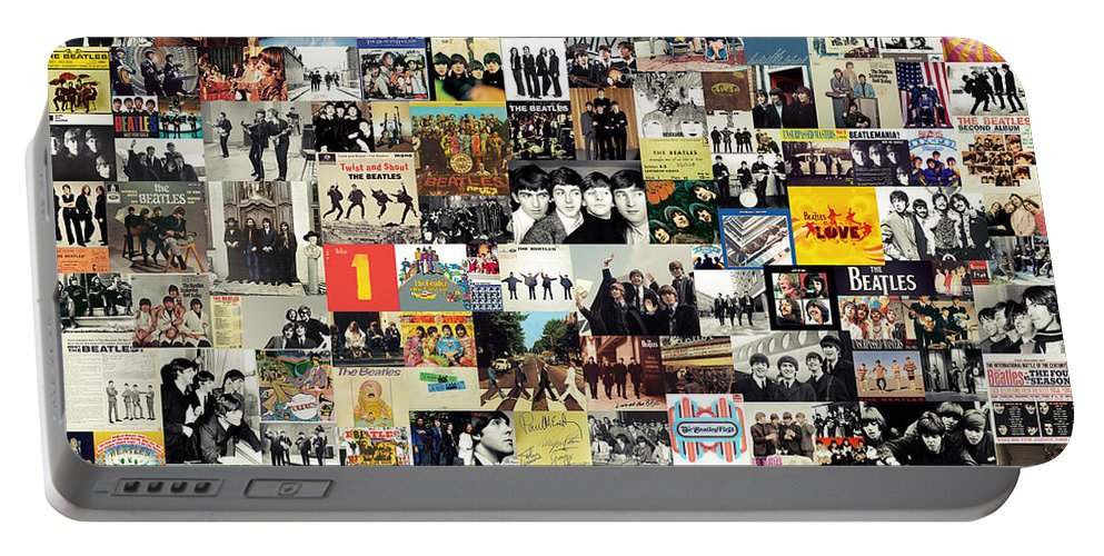 The Beatles Portable Battery Charger featuring the digital art The Beatles Collage by Zapista OU