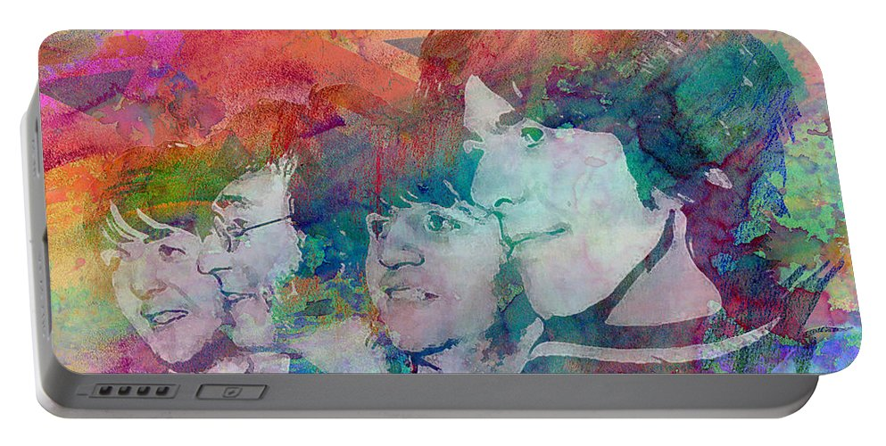 Ar Portable Battery Charger featuring the painting The Beatles Original Painting Print by Ryan Rock Artist
