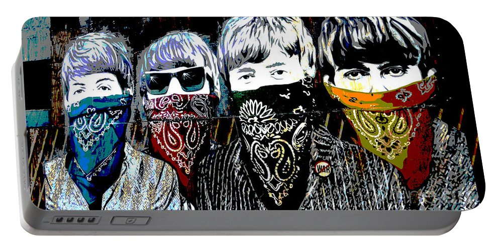 Banksy Portable Battery Charger featuring the photograph The Beatles wearing face masks by RicardMN Photography