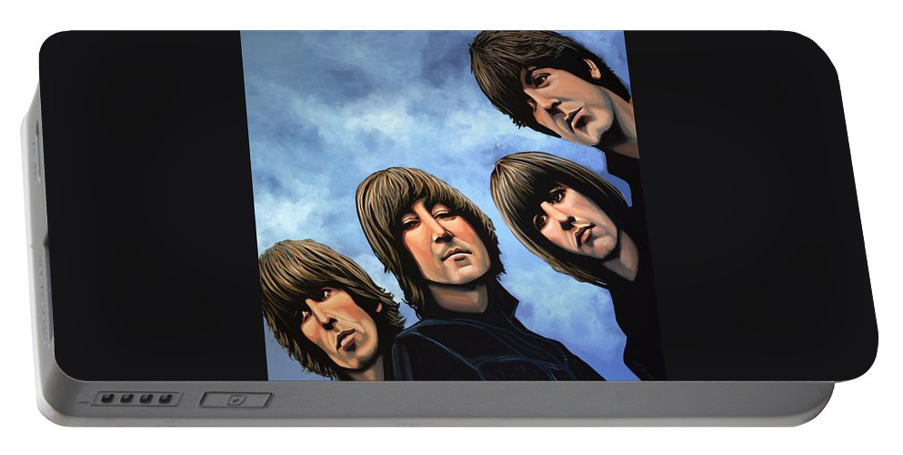 The Beatles Portable Battery Charger featuring the painting The Beatles Rubber Soul by Paul Meijering