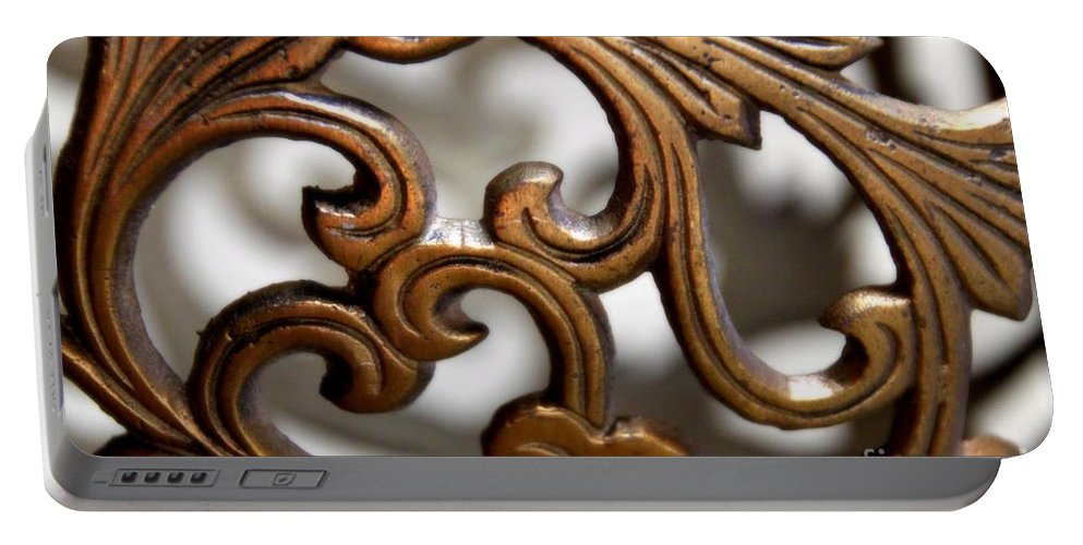 Scrolls Portable Battery Charger featuring the photograph The Beauty Of Brass Scrolls 1 by Jennifer E Doll