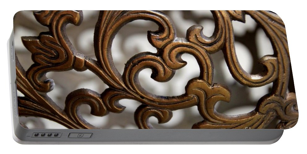 Scrolls Portable Battery Charger featuring the photograph The Beauty Of Brass Scrolls 2 by Jennifer E Doll