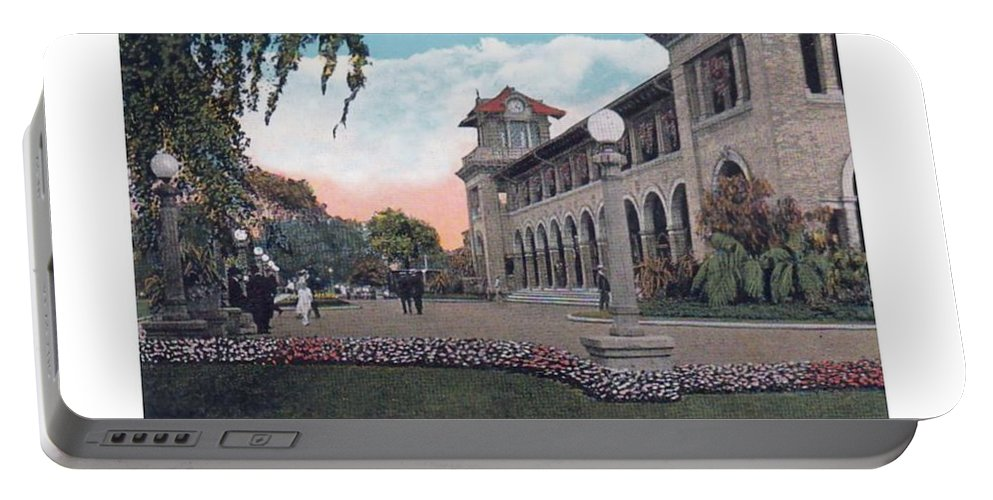 Detroit Portable Battery Charger featuring the digital art The Belle Isle Casino - Detroit - 1923 by John Madison