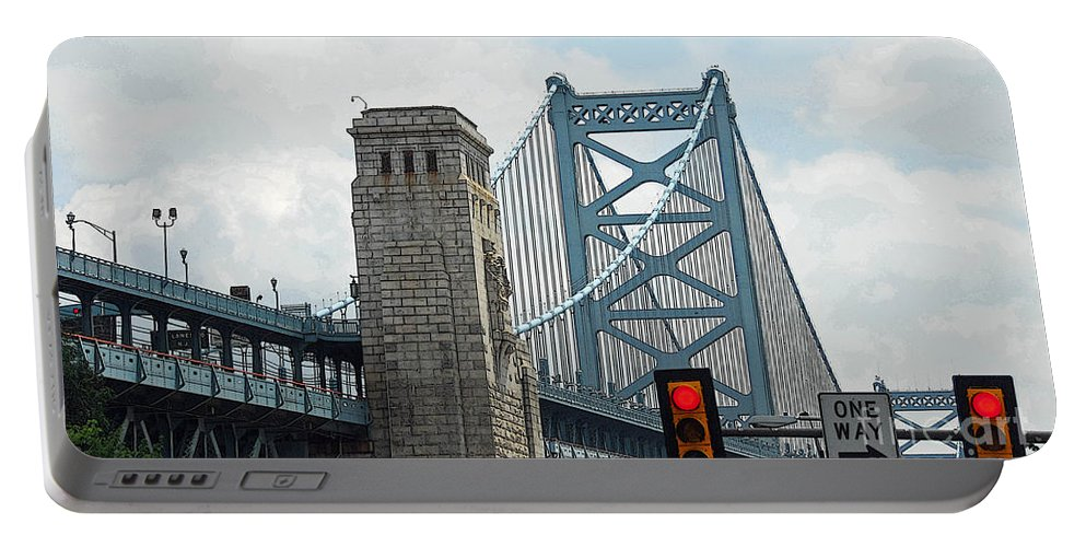 Bridges Portable Battery Charger featuring the photograph The Ben Franklin Bridge by Cindy Manero