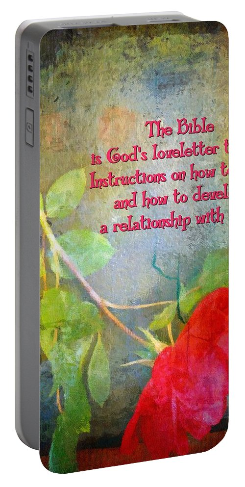 Jesus Portable Battery Charger featuring the digital art The Bible by Michelle Greene Wheeler