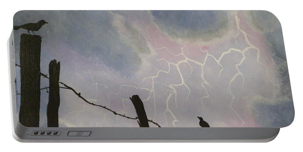 Barbwire Fence Portable Battery Charger featuring the painting The Birds - Watching The Show by Jack Malloch