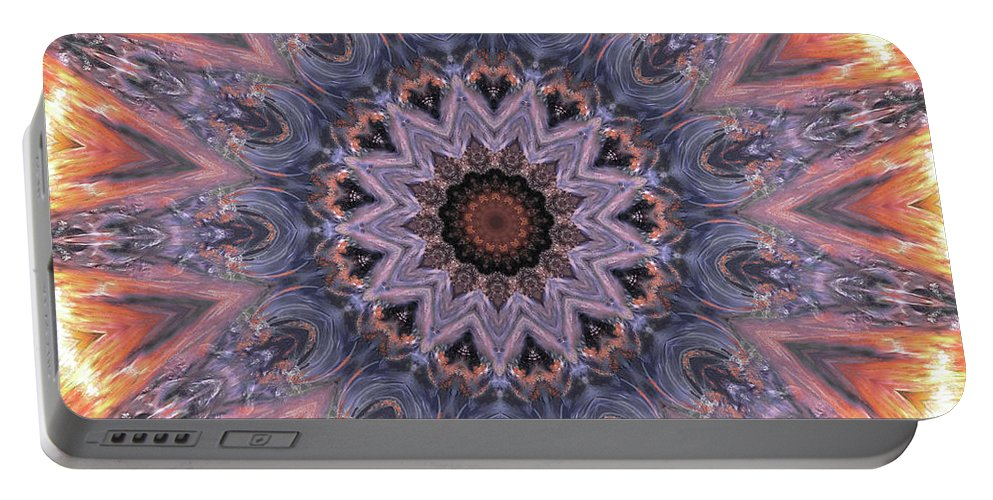 Sunburst Portable Battery Charger featuring the digital art The Birth Of The Sun by Angela Stanton
