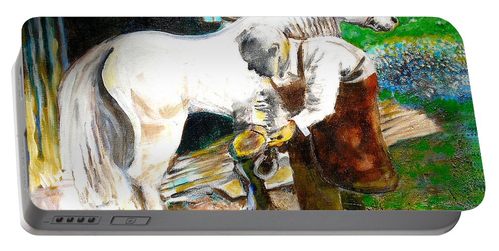 The Blacksmith Portable Battery Charger featuring the painting The Blacksmith by Seth Weaver