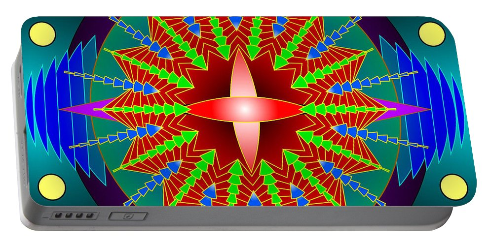 Mandala Art Portable Battery Charger featuring the digital art The Blue And The Purple by Mario Carini