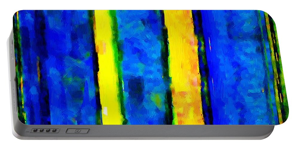 Semi-abstract Portable Battery Charger featuring the painting The Blue Doors Of La Rue Des Fauves by RC DeWinter