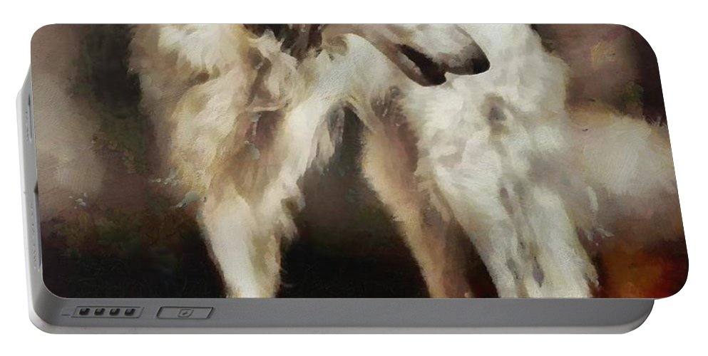 Russian Wolfhound Portable Battery Charger featuring the painting The Borzoi Uturn by Janice MacLellan