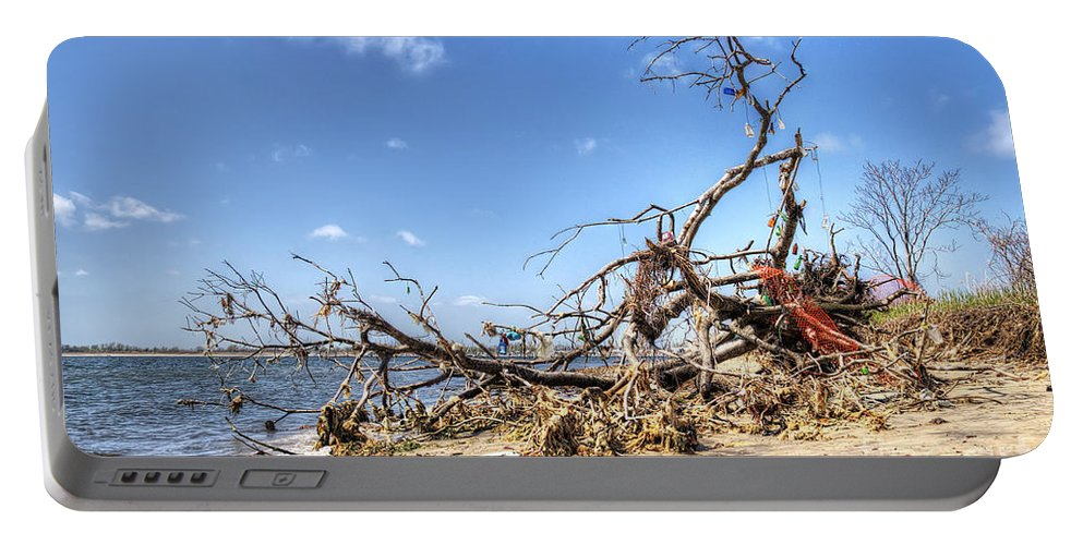 Washed Ashore Portable Battery Charger featuring the photograph The Bottle Tree by Rick Kuperberg Sr