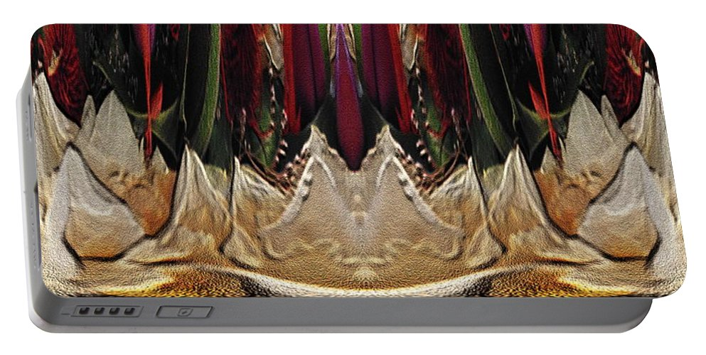 Abstract Portable Battery Charger featuring the digital art The Bouquet Unleashed 17 by Tim Allen