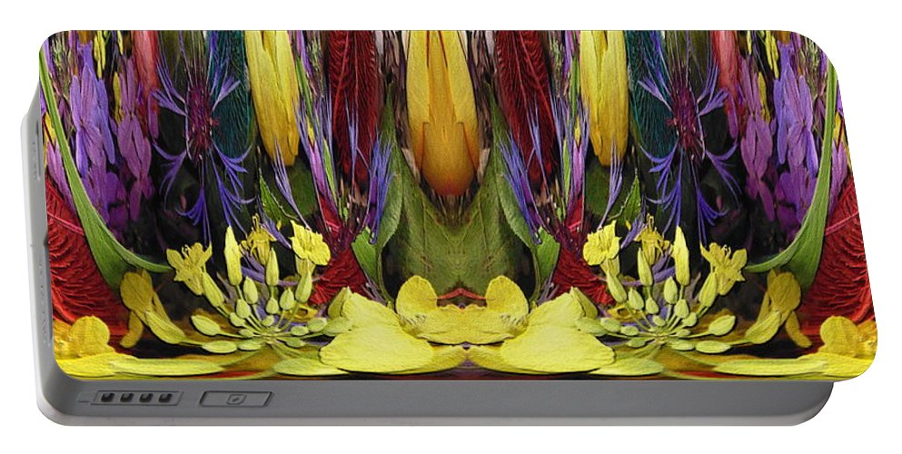 Abstract Portable Battery Charger featuring the digital art The Bouquet Unleashed 83 by Tim Allen
