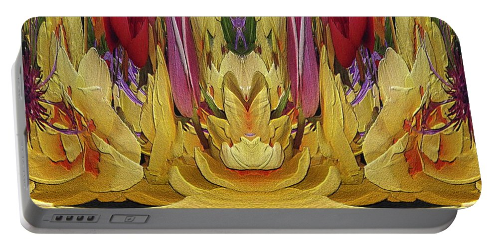 Abstract Portable Battery Charger featuring the digital art The Bouquet Unleashed 84 by Tim Allen
