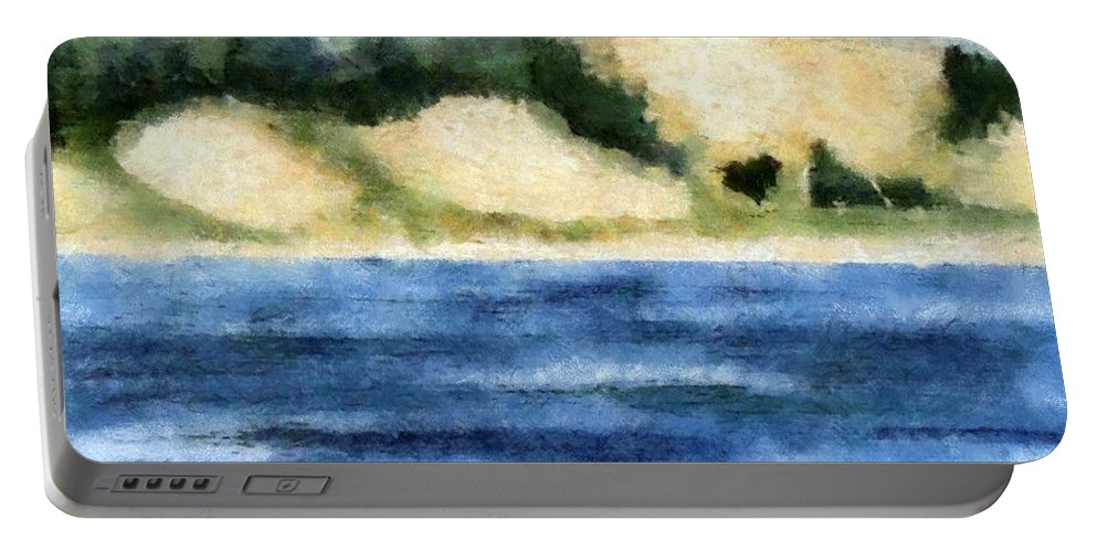 Dunes Portable Battery Charger featuring the painting The Bowl - Dunes Study by Michelle Calkins