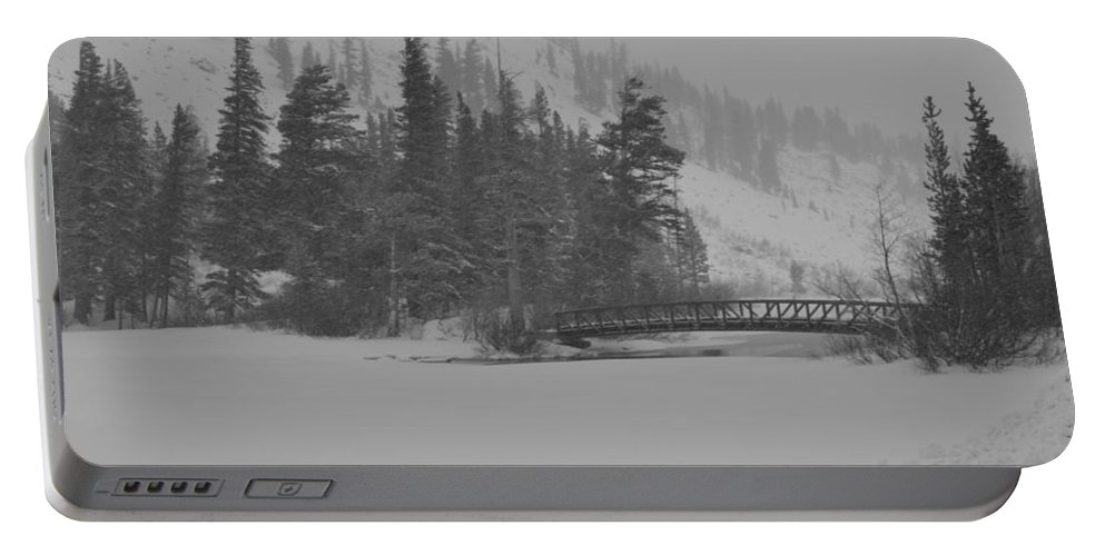 Tamarack Lodge Portable Battery Charger featuring the photograph The Bridge At Tamarack by Christine Owens