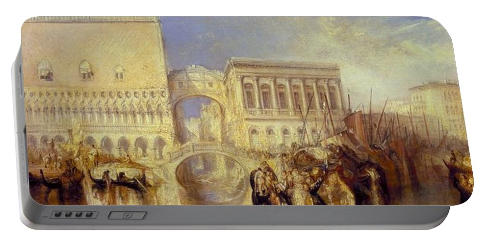 1840 Portable Battery Charger featuring the painting The Bridge Of Sighs by JMW Turner