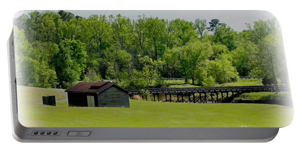 Blue Sky Portable Battery Charger featuring the photograph The Bridge To Home by Sandra Clark