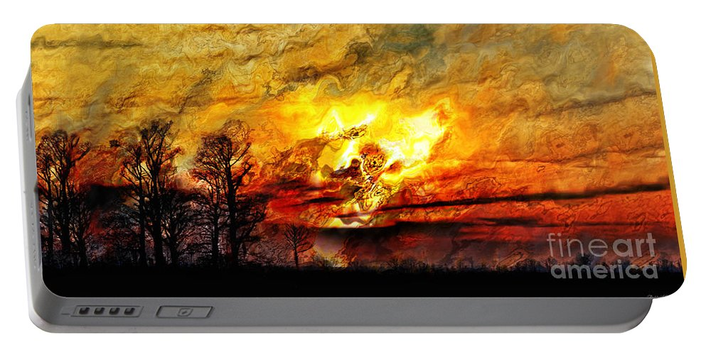 Smoke Portable Battery Charger featuring the photograph The Burning - Digital Paint by Debbie Portwood