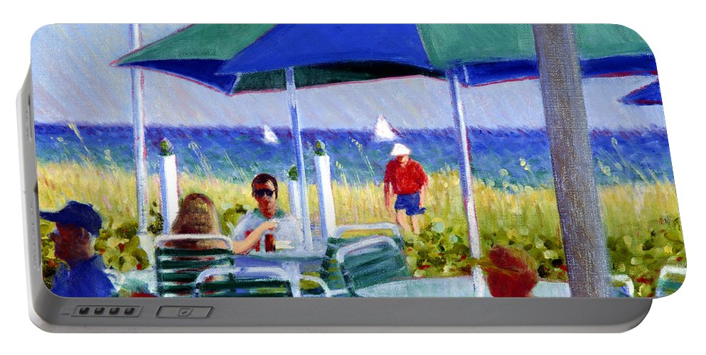Delray Beach Portable Battery Charger featuring the painting The Cabana Club by Candace Lovely