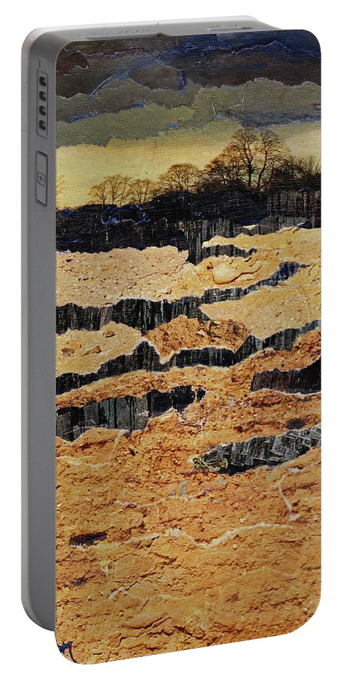 Calm Portable Battery Charger featuring the mixed media The Calm Before by Cindy Johnston