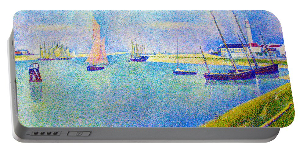 Georges Seurat Portable Battery Charger featuring the digital art The Canal At Gravelines by Georges Seurat