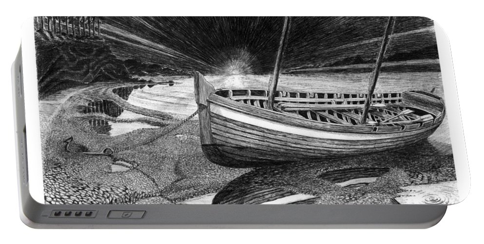 Artwork Of Yachts Portable Battery Charger featuring the drawing Captain Vancouvers Gig by Jack Pumphrey
