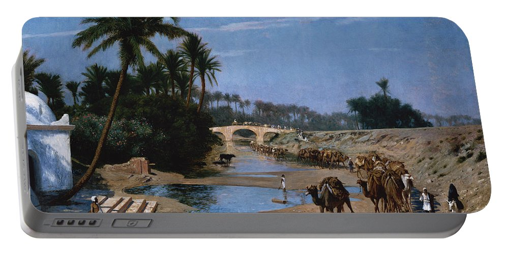 Caravan Portable Battery Charger featuring the painting The Caravan by Jean Leon Gerome
