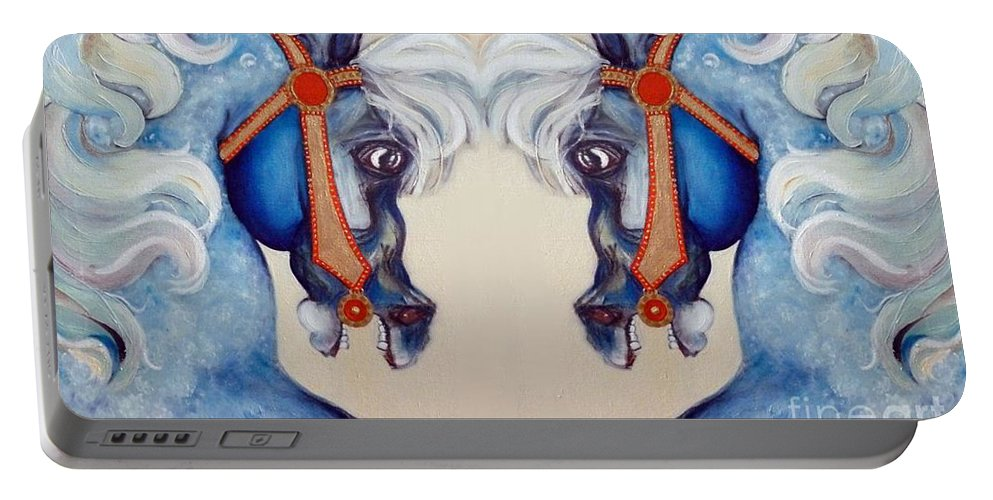 Horse Portable Battery Charger featuring the mixed media The Carousel Twins by Carolyn Weltman