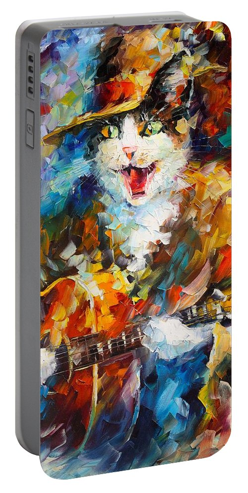 Afremov Painting Palette Knife Art Handmade Surreal Abstract Oil Landscape Original Realism Unique Special Life Color Beauty Admiring Light Reflection Piece Renown Authenticity Smooth Certificate Colorful Beauty Perspective Color Cat Guitar Portable Battery Charger featuring the painting The Cat And The Guitar by Leonid Afremov