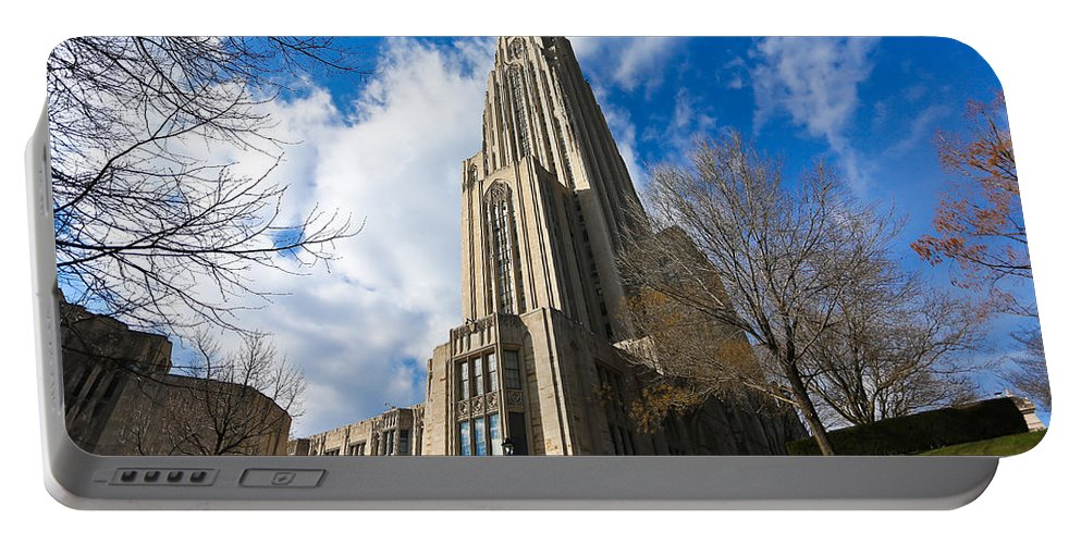 Cathedral Of Learning Pittsburgh Pa Oakland Pitt University College Education Taaffe Urban Panthers Students Frat Europe Andy Warhol Warhola East Pittsburgh Forbes Field Honus Wagner Portable Battery Charger featuring the photograph The Cathedral Of Learning 2g by Jimmy Taaffe